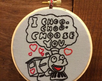 "Simpsons Inspired Cho-Cho-Choose You Valentine's Day Hand Embroidered 4"" Wall Hanging"