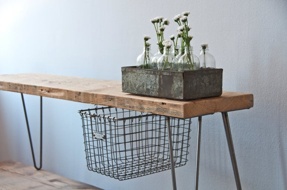reclaimed wood bench w sliding basket drawer and hairpin legs. Black Bedroom Furniture Sets. Home Design Ideas