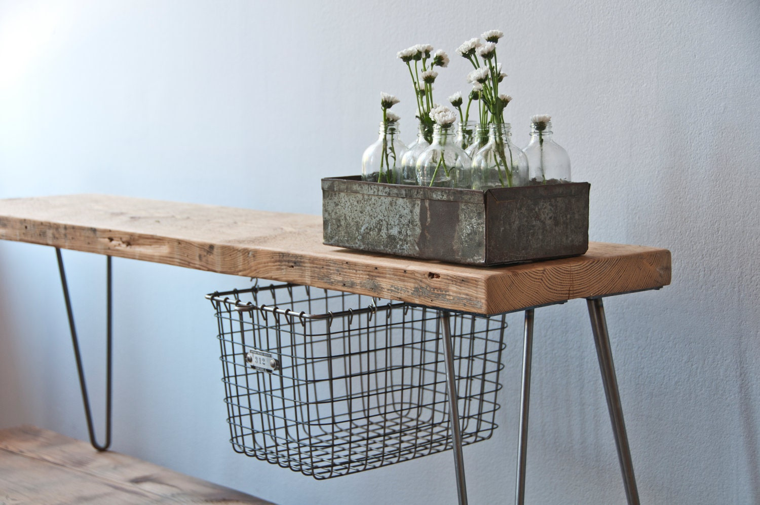 Reclaimed Wood Bench w/ sliding basket drawer and Hairpin legs
