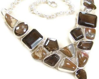 Agate and Smoky Quartz Sterling Silver Necklace