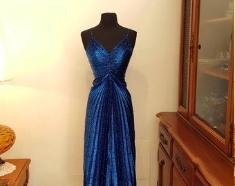 ON SALE - Rare Vintage Samir Disco Metallic Blue Spaghetti Strap Designer Gown Size 5/6 (small fit), This one's a show stopper!