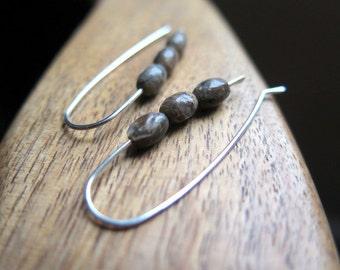 brown jasper earrings. sterling silver ear wires. stone jewelry