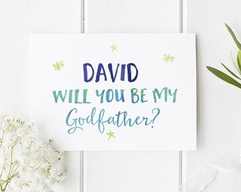 Personalised Godfather Card / Will you be my godfather / Card for godfather / Personalised card / Greetings cards