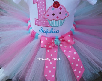1st Birthday Girl Outfit - Baby Girls Sprinkles Party Tutu Outfit - Pink and Aqua Cupcake Tutu - Our Lil Cupcake Party