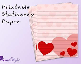 Printable Stationery Paper - Hearts 003