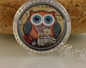 Memory Floating Charm Locket Necklace - Owl