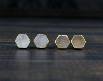 Druzy Stud Earrings, Druzy Earrings, Druzy Studs, Druzy Bridesmaid Earrings, Hexagon Earrings, Bridal Earrings, Small earring, Wedding