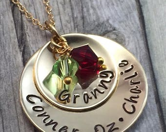 Holiday Sale Grandmothers necklace, hand stamped and personalized