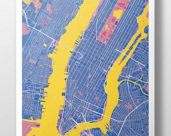 Manhattan Map Poster Darkblue + Yellow