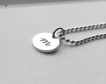 Letter m Necklace, All Letters Available, Initial Necklace, Letter m, Initial Jewelry, Monogram Sterling Silver Jewelry, Charm Necklace, m