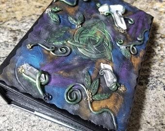 Enigma - Celtic Triquetra, polymer clay covered photo album, custom photo album, unique gift, quartz crystals, mystical forest goddess