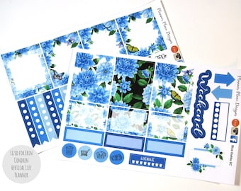 Planner Stickers - Happy Planner Stickers - Erin Condren - Blue Dahlia Flowers - Weekly Sticker Set - Floral Planner Stickers