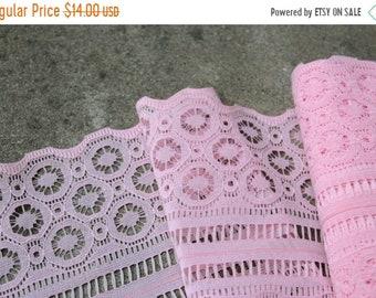 SALE SALE SALE Vintage Lace Trim Destash Seven Yards Pink Wedding Sewing Supplies
