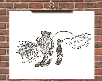 Winnie the Pooh Black and White classic illustrations