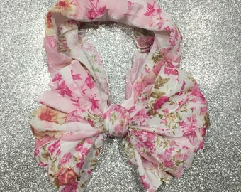 Pink Floral Ruffle Messy Bow Headwrap
