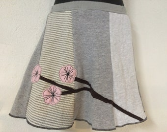 T-Skirt | upcycled, recycled gray t-shirt skirt with cherry blossom appliqué + pocket