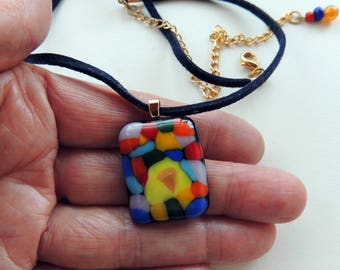 Fused glass necklace,rectangle colorful fused necklace,fused gifts,holiday gift.
