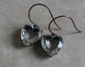 Clear Crystal Glass Heart Rhinestone Earrings with Vintaj Round Loop Earwires in Dark Antique Brass