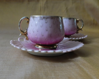 """Delightful pair of  2"""" or 5cm tall strawberry cup & saucer, bedroom decor for a fairy princess"""