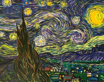 """Van Gogh - Starry Night - Re-production [Hand Painted] Oil Painting 18"""" X 24"""" by KateXu"""