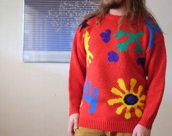Red Knit Abstract Floral Sweater - Matisse esque oversized