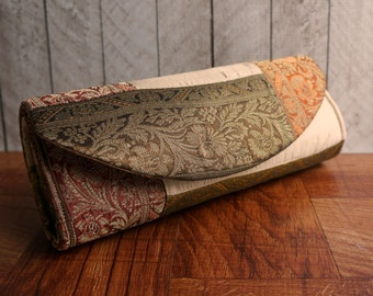 Clearance. Patchwork brocade clutch bag in autumn harvest colors. Gold, burgundy, bronze. Fall fashion