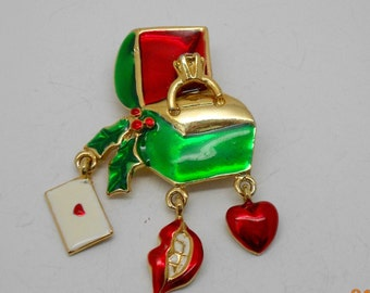 W1: Vintage Christmas Engagement Ring Brooch With Dangling Charms--signed G1g? G19?