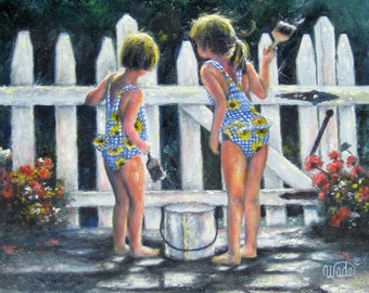 Summer Sisters Art Print two girls painting picket fence, two sisters, two daughters, swimsuits, Vickie Wade art