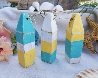 Set of 3 recycled wooden mini buoys, perfect for coastal nautical beach decor