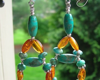 Dorana - Turquoise, Amber and Bali Sterling Silver Woven Chandelier Earrings - Handmade by Dorana