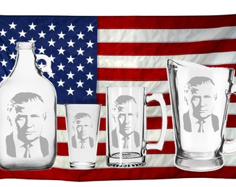President Donald Trump - Mug - Glass - Beer - Growler - Pitcher - Etched