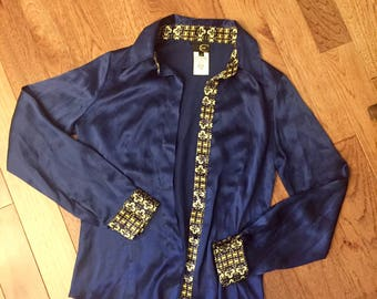 Vintage Just Cavalli made in Italy silk shirt / womens 42