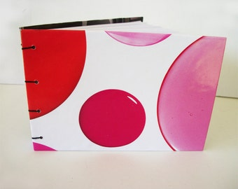 Pink and Red Dots Handmade Notebook Coptic Bound Sketchbook Polkadot Journal Recycled Hardcover Book One Of A Kind Lay Flat Cover