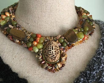 Bead Embroidered Collar, Scarab and Raw Tiger Eye