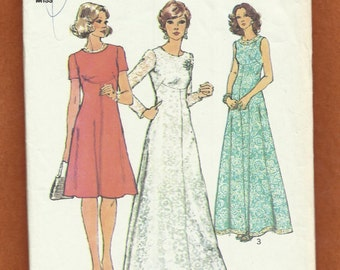 1970's Simplicity 6094 Evening or Day Length Dresses with Shaped Empire Detail on an Elegant Flared Skirt Size 10