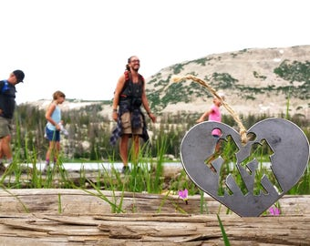 Hikers Rustic Steel Christmas Ornament Heart Hiking TravelerDecoration Holiday Gift Stocking stuffer Outdoors Hike Mountains By BE Creations