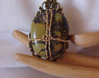 TURQUOISE NUGGET PENDANT~~Gold-Tone Wire Wrapped~~You Furnish the Chain