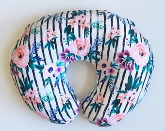 Nursing Pillow Cover Floral Stripe. Nursing Pillow. Nursing Pillow Cover. Minky Nursing Pillow Cover. Floral Nursing Pillow Cover.