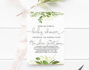 Printable baby shower invitation rustic rose gold garden greenery baby shower invitation baby shower invitation gender neutral baby shower garden baby shower neutral leaves baby shower 001 filmwisefo