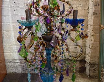 Multi Color Jeweled Crystal Candelabra Gypsy Style
