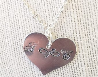 Hand Stamped Heart Necklace Custom Necklace Personalized Initials Necklace Infinity Arrow Metal Stamped Necklace Personalized Necklace