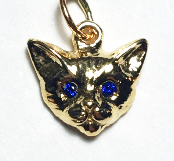 Yellow Gold Kitty Cat Charm with Blue Sapphire Eyes