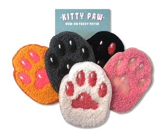 Cat Paw Patch - Chenille patches with embroidered paw pads - cute flair cats kitties kittens toe beans