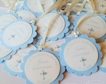 Baptism favor tags, christening thank you tags, first communion tags, thank you tags, favor tags, religious favor tags, cross favor tags