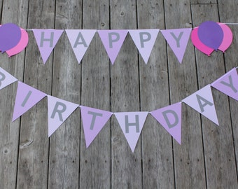 Happy Birthday Double Banner 6 and 8 Foot  Banner - Paper Bunting Flag Mantel Garland  - Birthday Party Banner