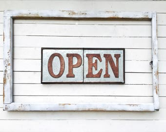 Open Closed Metal Signage for Shop-Distressed Metal-Coffee Shop-Diner-Kitchen-Window Sign Hanger-Bakery Open Sign-Vintage Signs-Restaraunt