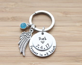 hand stamped keychain   two layer - forever in my heart