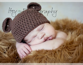 Baby Bear Crocheted Cotton Hat - Great Photo Prop