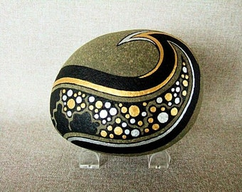 3D Art Object Unique Art Painted Rock Original Art Signed Home Decor Office Decor Galaxy Stars Design Gold Silver Black The Perfect Gift