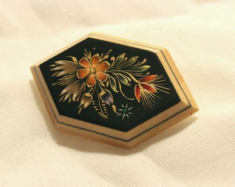 Vintage Enamel and Wood Floral Pin|